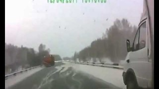 Truck Slides on Icy Road and Narrowly Misses Head-on Accident