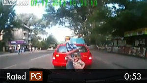 Father & Children Almost Killed Crossing Road