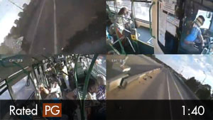 Driver Crashes Head-On Into Bus