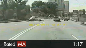 Scooter Hit by Oncoming Car on Highway