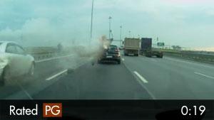 Speeding Motorcyclist Hits Stopped Traffic