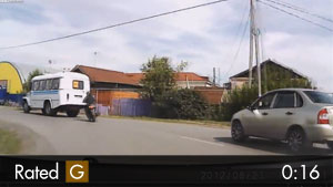 Motorcyclist Drives Off the Road as Drivers Laugh