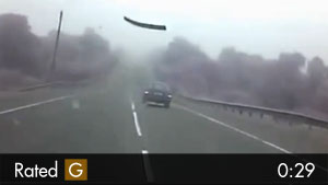 Steel Bar Flies Through Windshield