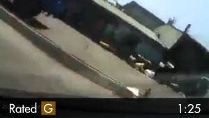 Crane Hooks Car & Drags it Down the Road