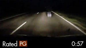Man Walking on Dark Highway Almost Hit by Car