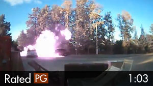 Car Explodes in Fire After Rear-End Crash