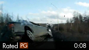Speeding Driver Hits Car, Then Pole, Then Rolls Into Ditch