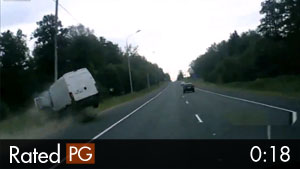 Van Drives Head-On Into Highway Streetlight
