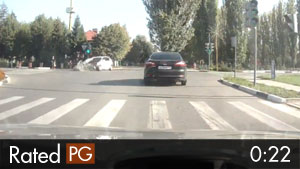 Motorcyclist Runs Red Light & T-Bones Car