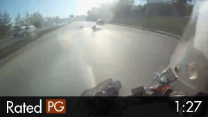 2 Motorcyclists Doing Wheelies Wipe Out