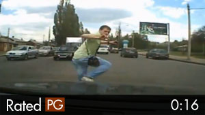Speeding Car Hits Pedestrian With Ninja Reflexes
