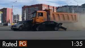 Brakes Fail & Dump Truck Crashes Into 12 Cars