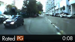 Cyclist Attempts to Ramp Over Oncoming Car
