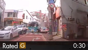 Runaway Bus Plows Down a Narrow Street