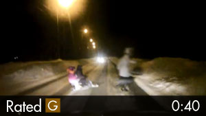 Woman & Her Kids Almost Hit Crossing Snowy Road