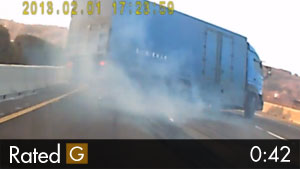 Semi-Truck Sideswipes Car & Flips Over on Highway