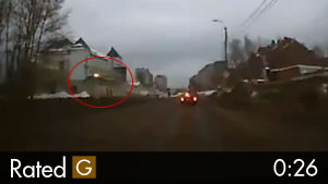 Russian Car Launches Through the Sky