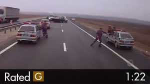 Inattentive Truck Driver Almost Causes Big Accident