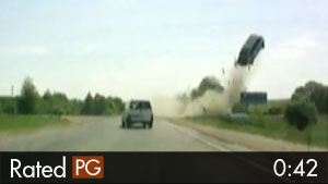 Minivan LAUNCHES Into the Air After Bad Crash