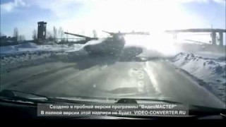 Surprise Tank Crosses Snowy Road in Russia