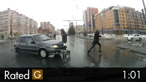 Pedestrians Almost Hit by Crashing Cars