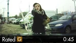 Woman Throws McDonalds on Car at Crosswalk