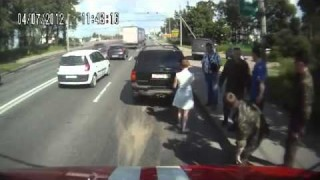 Woman Cuts Off a Fire Truck & Causes Wreck