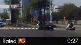 Car Runs Red Light & Takes Out Scooter