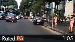 Car Unexpectedly Drives Into Bus Stop