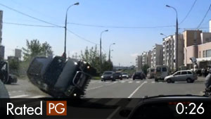 SUV Rolls Over & Strikes Dash Cam Vehicle