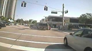 Motorcyclist Runs Red Light & T-Bones Car